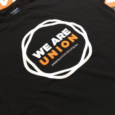 We Are Union tshirt closeup